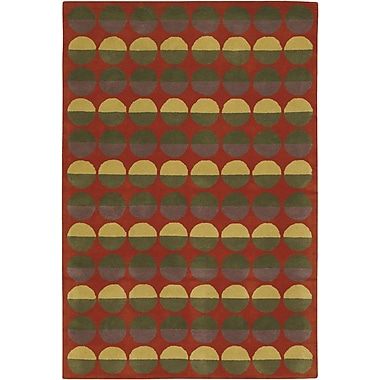Chandra Rowe Red Circle Area Rug; 5' x 7'6''