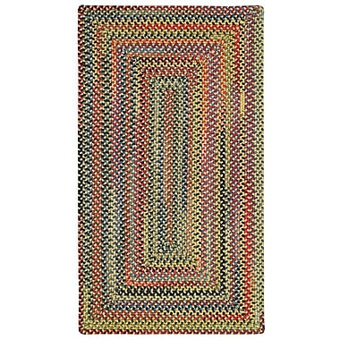 Capel High Rock Yellow Striped Area Rug; Concentric Square 5'6''