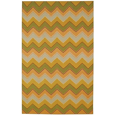 Capel Irish Stitch Honey/Moss Area Rug; 7' x 9'6''