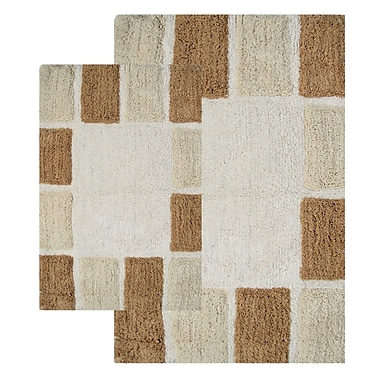 Chesapeake Mosaic Tiles 2 Piece Bath Rug Set; Natural and Linen