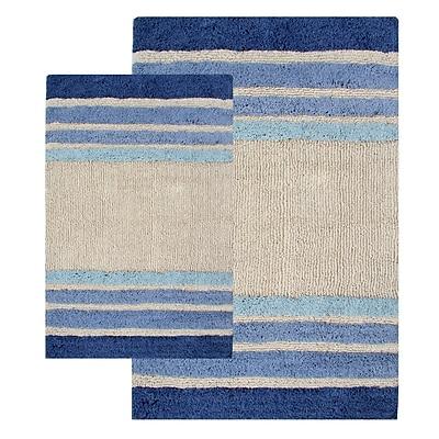 Chesapeake Tuxedo Stripe 2 Piece Bath Rug Set; Blue