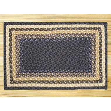 EarthRugs Light Blue/Dark Blue/Mustard Braided Area Rug; 1'8'' x 2'6''