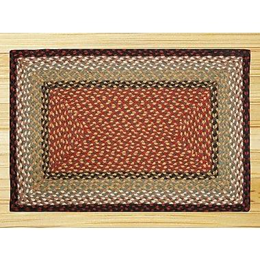 EarthRugs Burgundy/Mustard Braided Area Rug; Runner 2' x 6'