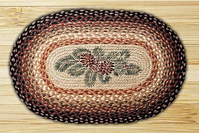 EarthRugs Pinecone Red Berry Printed Area Rug; Oval 1'8'' x 2'6''