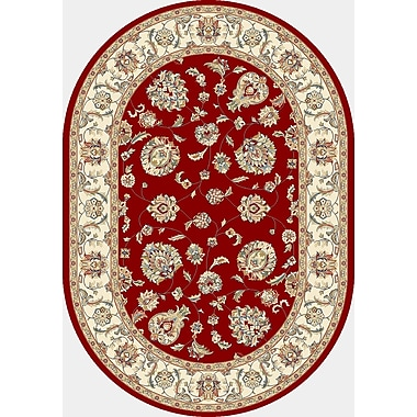 Dynamic Rugs Ancient Garden Red/Ivory Area Rug; Oval 5'3'' x 7'7''