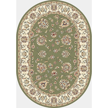 Dynamic Rugs Ancient Garden Green/Ivory Area Rug; Oval 5'3'' x 7'7''