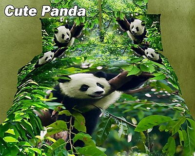Dolce Mela Cute Panda Cotton Duvet Cover Set; Full/Queen