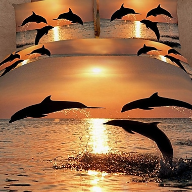 Dolce Mela Pacific Sunset Dolphins 6 Piece Reversible Duvet Cover Set; King