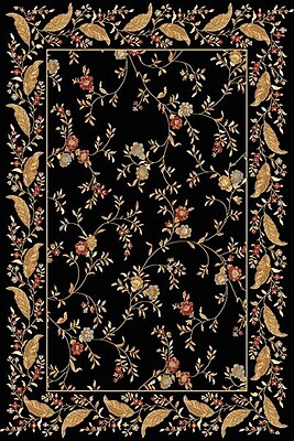 Dynamic Rugs Yazd Floral Black Area Rug; 7'10'' x 10'10''