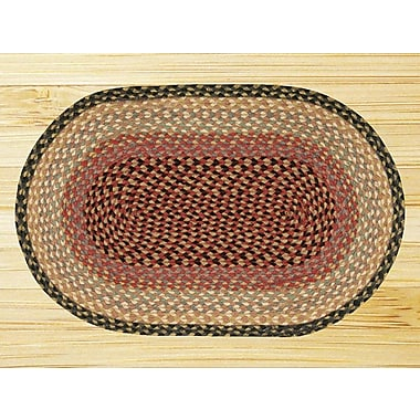 EarthRugs Burgundy/Gray/Cr me Braided Area Rug; Oval 5' x 8'