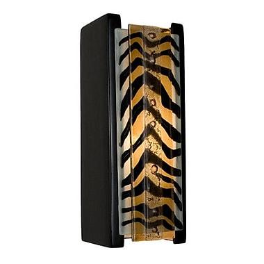 A19 ReFusion Safari 1-Light Wall Sconce; Matador Black Gloss and Zebra Caramel