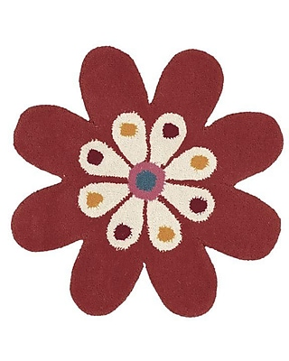 Dynamic Rugs Fantasia Hand-Tufted Wool Red/Gold/Green Flower Area Rug; Novelty 2' x 2'
