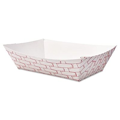 Boardwalk 2 lbs. Weave Paper Food Tray, Red/White, 1000/Pack