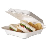 "Eco-Products® 9"" x 9"" x 3"" Sugarcane Hinged Lid 1-Compartment Clamshell Food Box, White, 200/Pack"