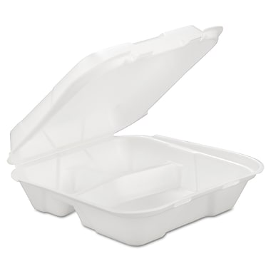 Gen 3-Compartment Foam White Hinged Carryout Container, 200/Pack