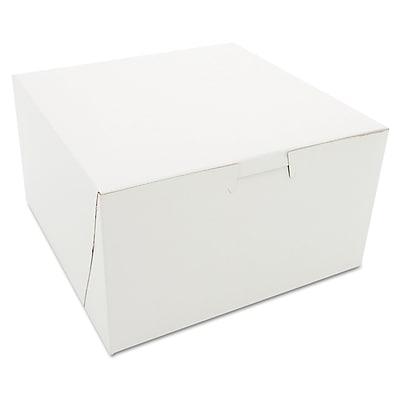 "Southern Champion Tray White Paperboard Lock Corner Bakery Box, 4"" x 7"" x 7"", 250/Pack"