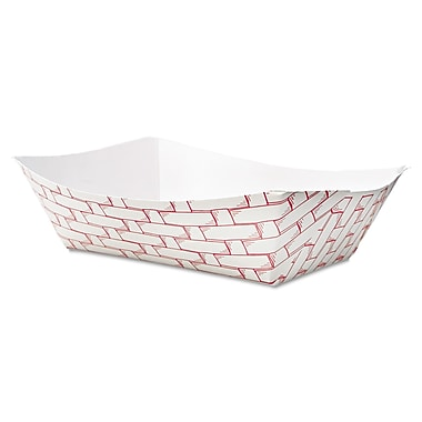 Boardwalk 3 lbs. Weave Paper Food Tray, Red/White, 500/Pack