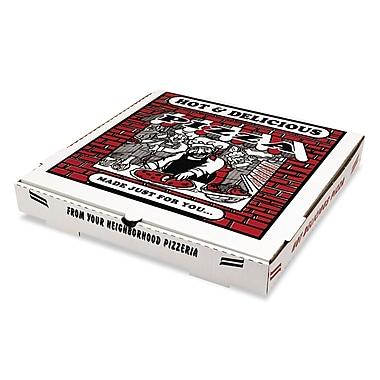Pratt Plus B-Flute Corrugated Cardboard Pizza Box, White, 1 7/8