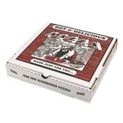 """Pizza Box E-Flute Kraft Pizza Box, White, 2 1/2""""(H) x 10""""(W) x 10""""(D), 50/Pack"""