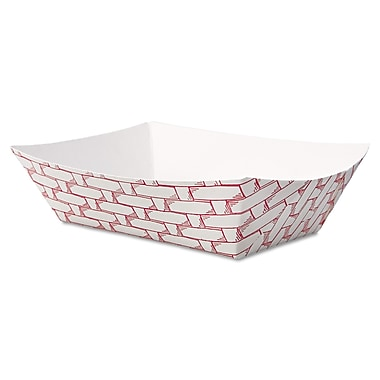 Boardwalk 1/2 lbs. Weave Paper Food Tray, Red/White, 1000/Pack