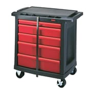 Rubbermaid Work Centre Mobile Cart, 5 Drawer, Black/Red