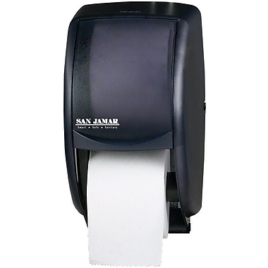 San Jamar Duett Toilet Paper Roll Dispenser, Black