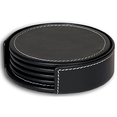 Dacasso 3200 Series Leather Four Round Coasters w/ Holder in Rustic Black