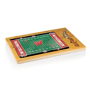 Picnic Time NCAA Football Icon Cutting Cheese Tray; University of Wisconsin Badgers