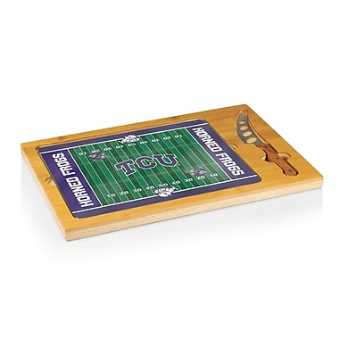 Picnic Time NCAA Football Icon Cutting Cheese Tray; Texas Christian University Horned Frog