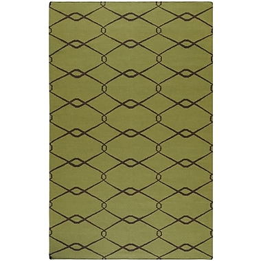 Jill Rosenwald Rugs Fallon Lime Green/Chocolate Area Rug; 5' x 8'
