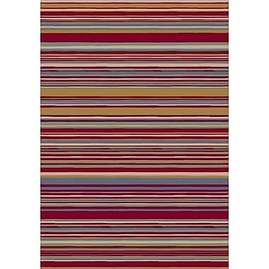 Milliken Innovation Lola Ruby Striped Area Rug; Round 7'7''