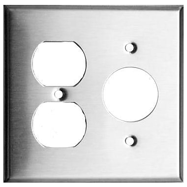 Morris Products 2 Gang 1 Duplex 1 Single Stainless Steel Metal Wall Plates