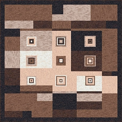 Milliken Pastiche Bloques Brown Leather Rug; Rectangle 2'8'' x 3'10''