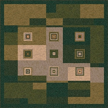 Milliken Pastiche Bloques Deep Olive Rug; Rectangle 2'8'' x 3'10''