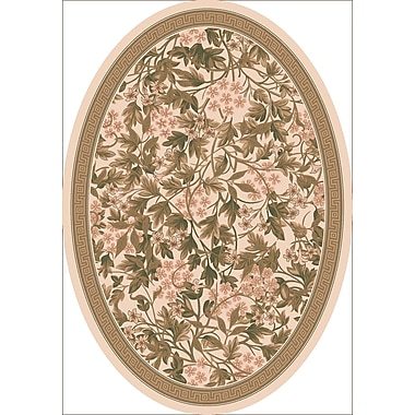 Milliken Pastiche Delphi Floral Sand Brown Rug; Oval 5'4'' x 7'8''