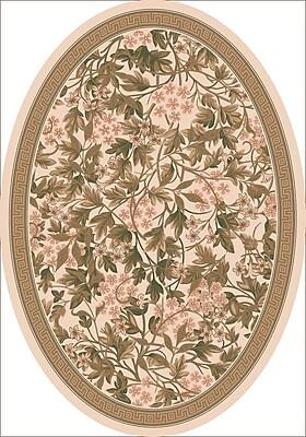 Milliken Pastiche Delphi Floral Sand Brown Rug; Oval 3'10'' x 5'4''