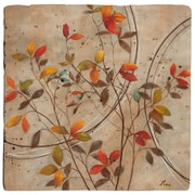 Thirstystone Colored Leaves Travertine Ambiance Coaster Set (Set of 4)