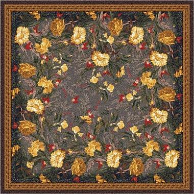 Milliken Pastiche Barrington Court Ebony Floral Rug; Square 7'7''
