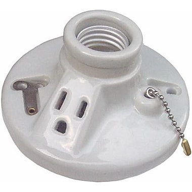 Morris Products Porcelain Receptacles Pull Chain w/ Outlet Screw Terminals
