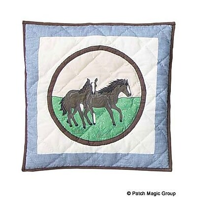 Patch Magic Horse Friends Cotton Throw Pillow