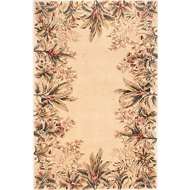KAS Rugs Emerald Ivory Tropical Border Area Rug; Runner 2'6'' x 8'