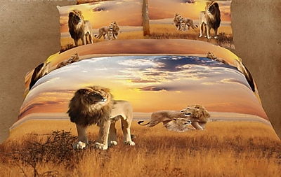 Dolce Mela Dolce Mela African Lions 6 Piece Reversible Duvet Cover Set; King