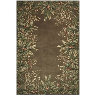 KAS Rugs Emerald Taupe Tropical Border Area Rug; 9'3'' x 13'3''