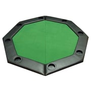JP Commerce Padded Octagon Folding Poker Table Top w/ Cup Holders in Green