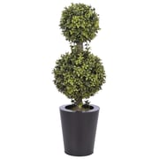 House of Silk Flowers Artificial Double Ball Topiary in Pot; Black Zinc