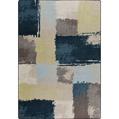 Milliken Mix and Mingle Lagoon Fair And Square Rug; Runner 2'1'' x 7'8''