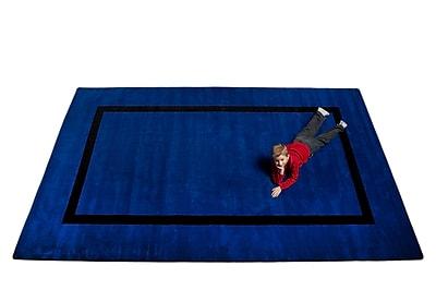 Kid Carpet Montessori Blue w/ Black Line Classroom Kids Rug; Oval 7'6'' x 12'