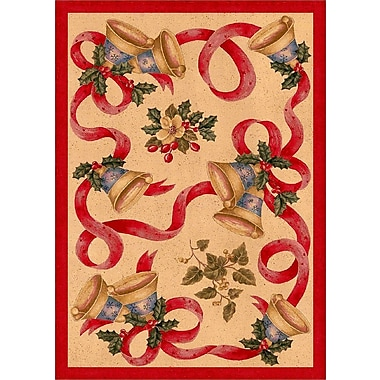 Milliken Winter Seasonal Holiday Bells and Bows Red/Beige Area Rug; 3'10'' x 5'4''