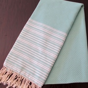 Scents and Feel Honey Comb Fouta Towel; Aqua / White