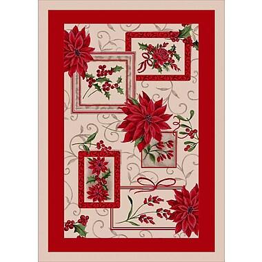 Milliken Winter Seasonal Holiday Winter Bouquet Red/ Beige Area Rug; 3'10'' x 5'4''
